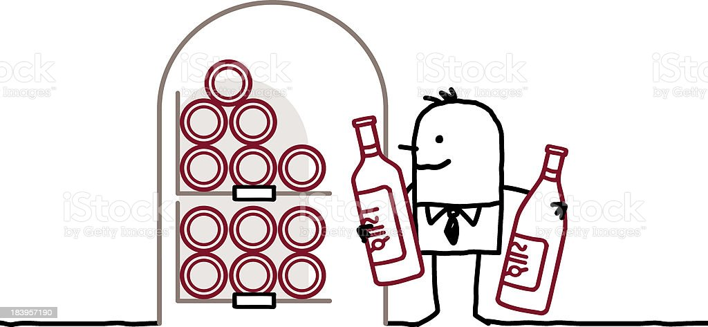 man in cellar with bottles of wine vector art illustration
