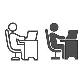 istock Man in chair at table with laptop line and solid icon, Coworking concept, freelancer working on laptop sign on white background, Businessman working on computer icon in outline style. Vector graphics. 1264393471