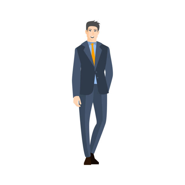 Man In Classic Suit With Orange Tie Part Of The Collection Man In Classic Suit With Orange Tie Part Of The Collection Of Young Professional People Office Style And Street Fashion Looks. Smiling Confident Person In Trendy Modern Clothing Flat Vector Illustration. suave stock illustrations