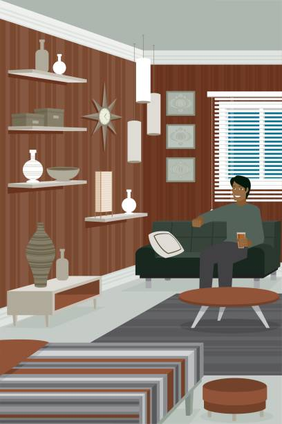 Man in contemporary room vector art illustration