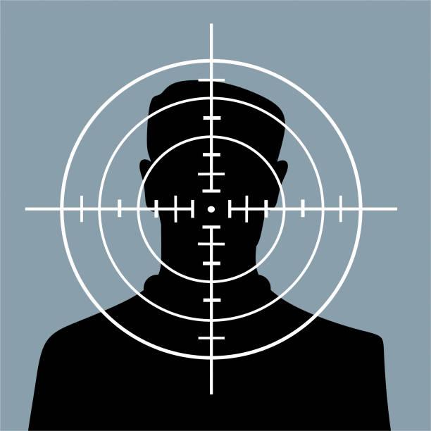 stockillustraties, clipart, cartoons en iconen met mens in vizier - moordenaar