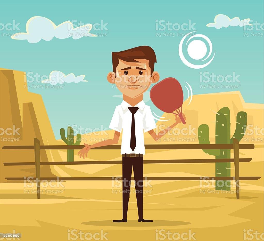 Man in desert. Vector flat illustration vector art illustration