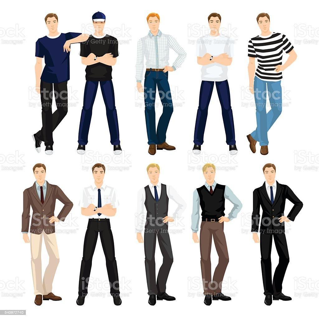 Homem com roupas diferentes, e representam - ilustração de arte em vetor