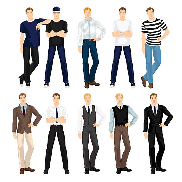 man in different clothes and pose - preppy fashion stock illustrations, clip art, cartoons, & icons