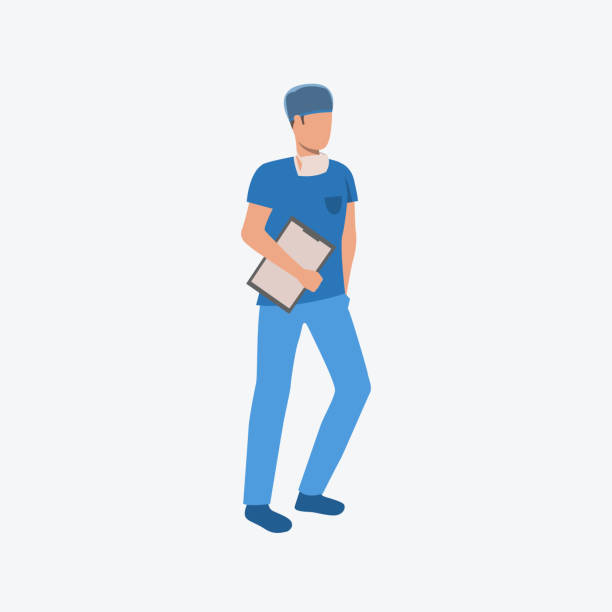 Man in doctor uniform Man in doctor uniform. Professional, medicine, clothing. Can be used for topics like professional, working, job, hospital male nurse stock illustrations