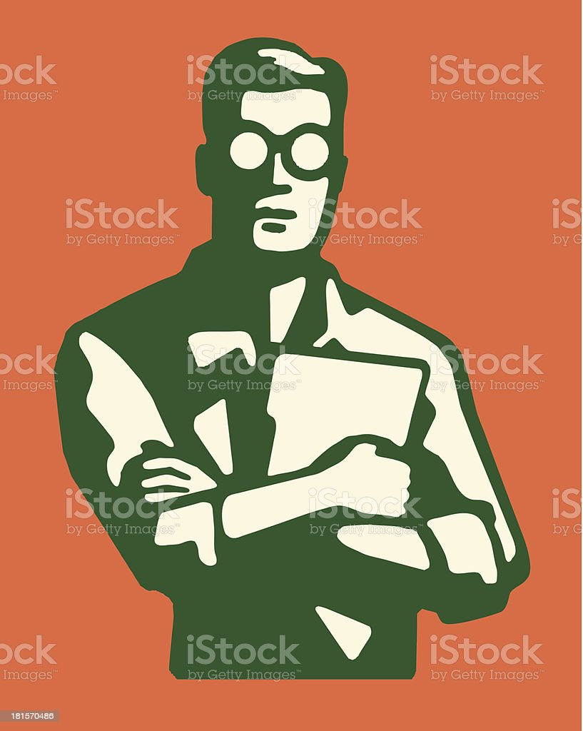 Man in Eyeglasses with Crossed Arms Holding a Document vector art illustration