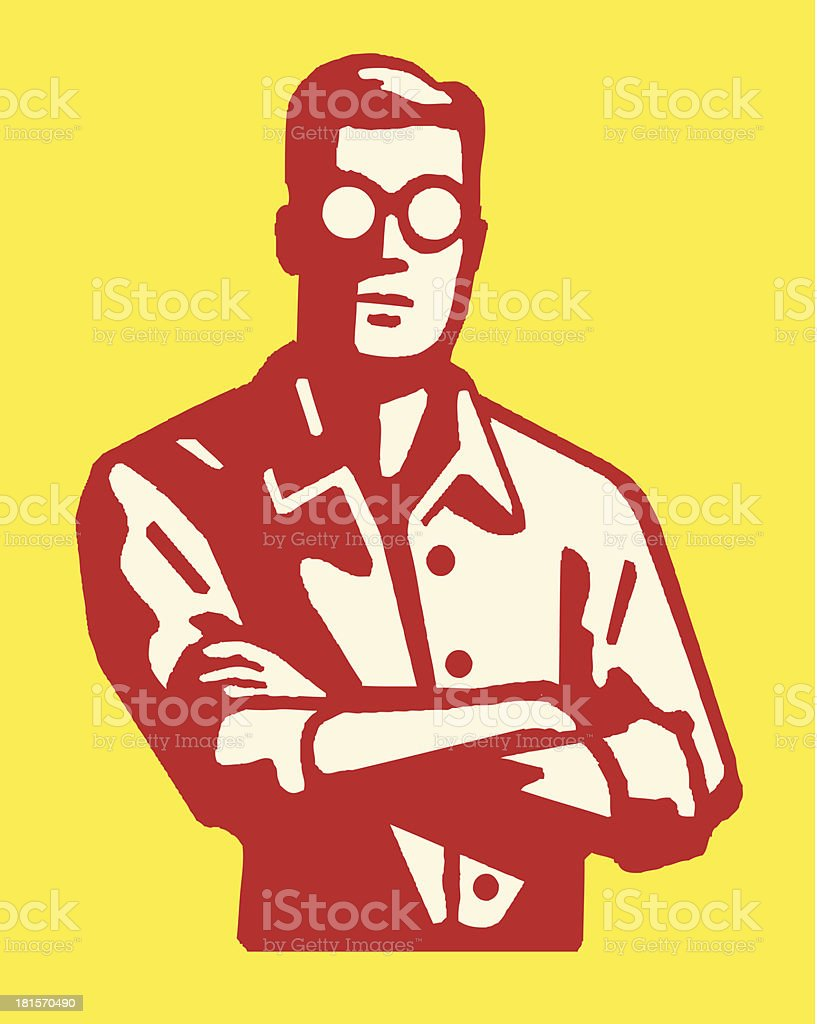 Man in Eyeglasses with Crossed Arms vector art illustration