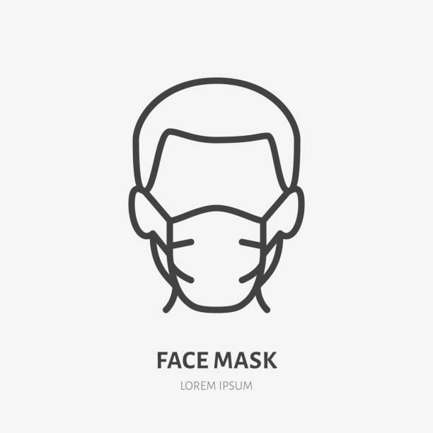 bildbanksillustrationer, clip art samt tecknat material och ikoner med man i ansiktsmask linje ikon, vektor piktogram av sjukdomsprevention. skyddsslitage från coronavirus, luftföroreningar, damm, influensaillustration, skylt för medicinsk utrustning butik - face mask