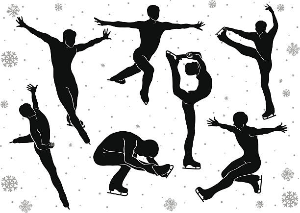 Man in figure skating vector silhouettes in motion on  ice Man figure skating in motion on the ice. Set of silhouettes in vector. Winter sports. Falling snowflakes background. Illustration figure skating stock illustrations