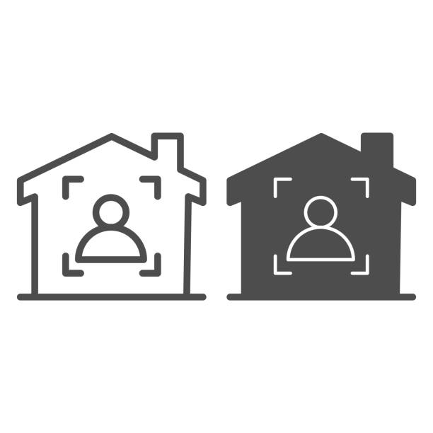 Man in frame inside house line and solid icon, smart home symbol, guest identity system vector sign on white background, person recognition process icon in outline style mobile, web. Vector graphics. Man in frame inside house line and solid icon, smart home symbol, guest identity system vector sign on white background, person recognition process icon in outline style mobile, web. Vector graphics human finger stock illustrations