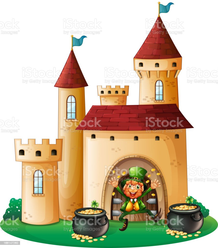 Man in front of castle with two pots royalty-free man in front of castle with two pots stock vector art & more images of adult