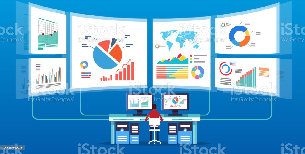 Man in front of the electronic screen to do data monitoring and analysis vector art illustration