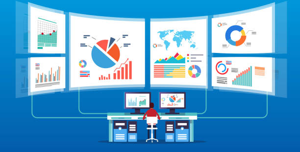 man in front of the electronic screen to do data monitoring and analysis - wealth stock illustrations, clip art, cartoons, & icons