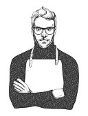 Vector illustration of ink drawn man in glasses and apron. Close-up portrait of a chef or woodworker in hand-drawn vintage style.