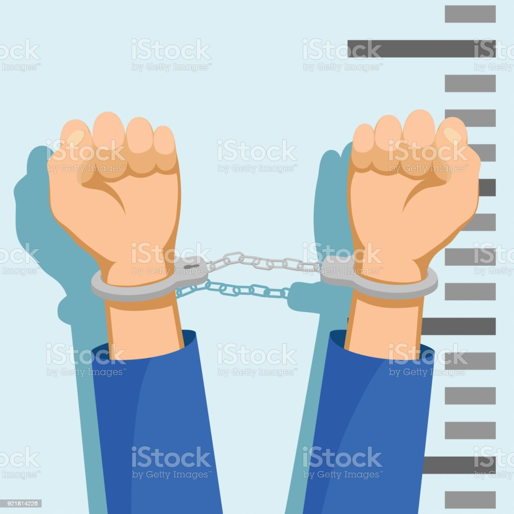 Man in handcuffs. vector art illustration