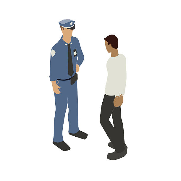 Man in handcuffs with police officer vector art illustration