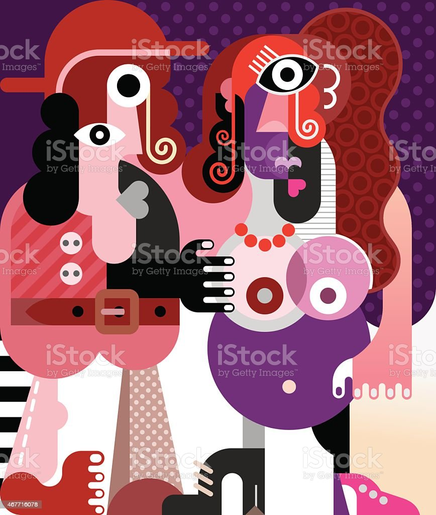 Man in hat and naked pregnant woman vector art illustration