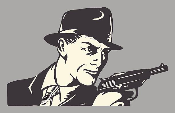 man in hat holding pistol - gangster stock illustrations, clip art, cartoons, & icons