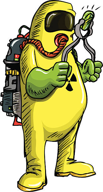 man in hazmat suit handeling something radioactive - cartoon of a hazmat suit stock illustrations, clip art, cartoons, & icons
