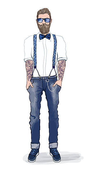 Man in hipster style - Illustration vectorielle