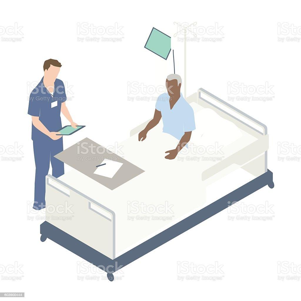 Man in hospital bed illustration vector art illustration