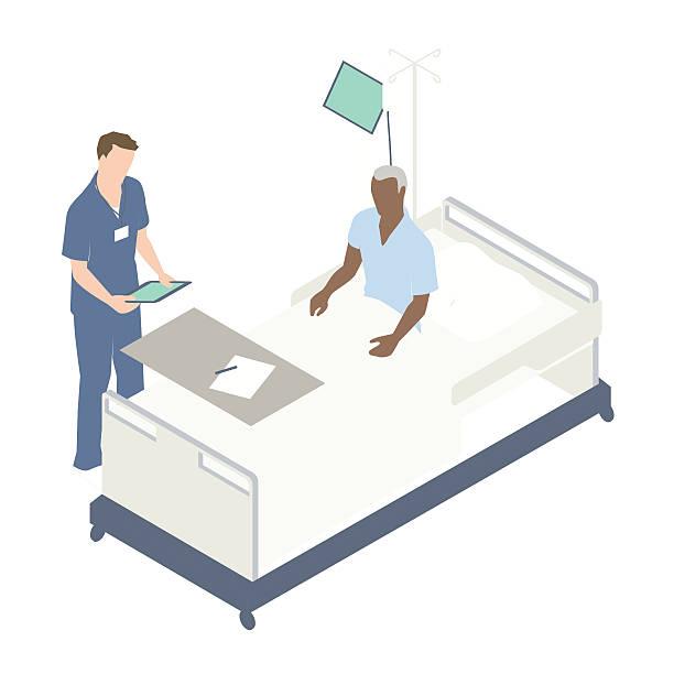 illustrations, cliparts, dessins animés et icônes de man in hospital bed illustration - infirmier