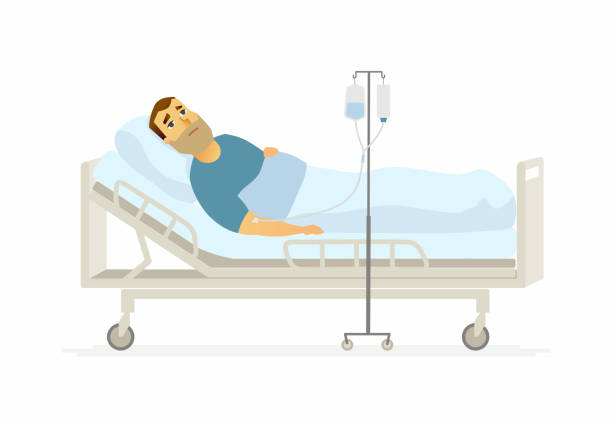 man in hospital on a drip - cartoon people characters illustration - bed stock illustrations