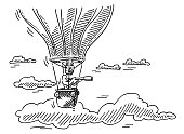 Man In Hot Air Balloon With Telescope Drawing
