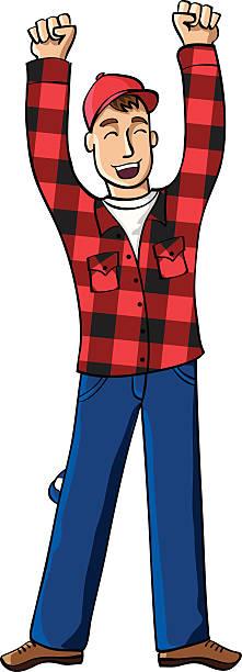 man in jack shirt cheering - plaid shirt stock illustrations