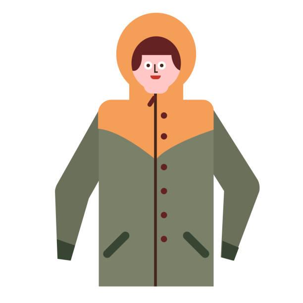 mann in jacke flache illustration auf weiß - parkas stock-grafiken, -clipart, -cartoons und -symbole