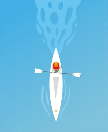 Man in kayak illustration