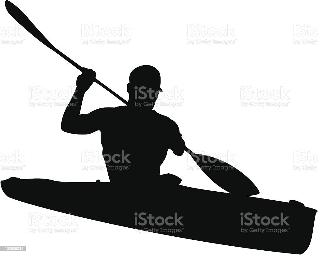 Man in Kayak Silhouette vector art illustration