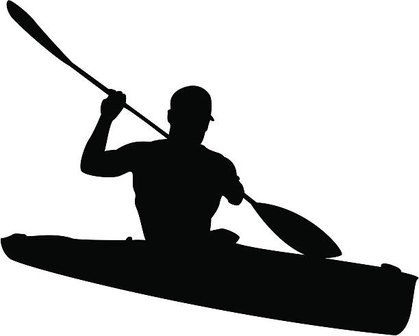 man in kayak silhouette - kayaking stock illustrations, clip art, cartoons, & icons