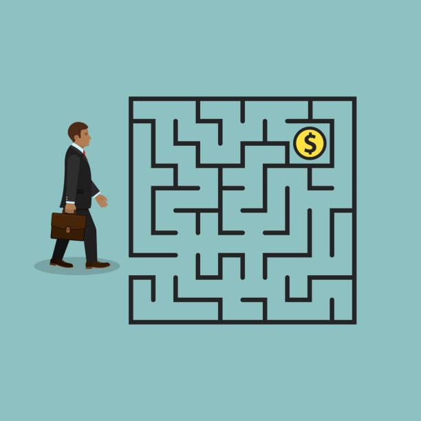 mann im labyrinth suchen geld, vektor. - schlüsselfertig stock-grafiken, -clipart, -cartoons und -symbole