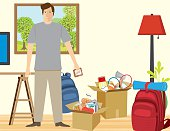 Man In Living room filled with items packed for vacation
