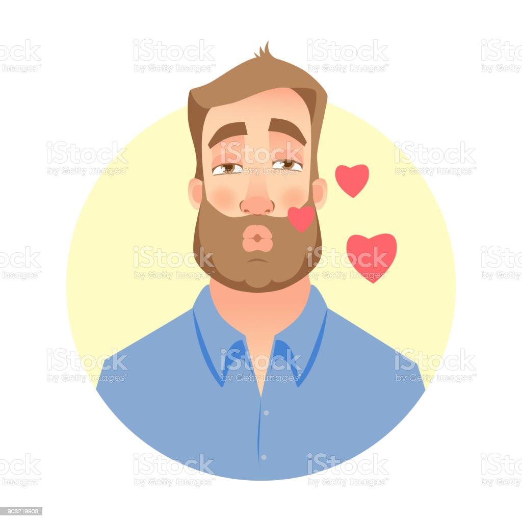 Ilustración De Hombre En El Amor Beso Para Ti Cara De Hombre Con