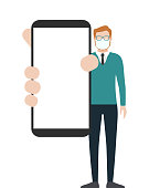 Man in medical mask showing a blank smart phone screen. Cartoon vector stock illustration