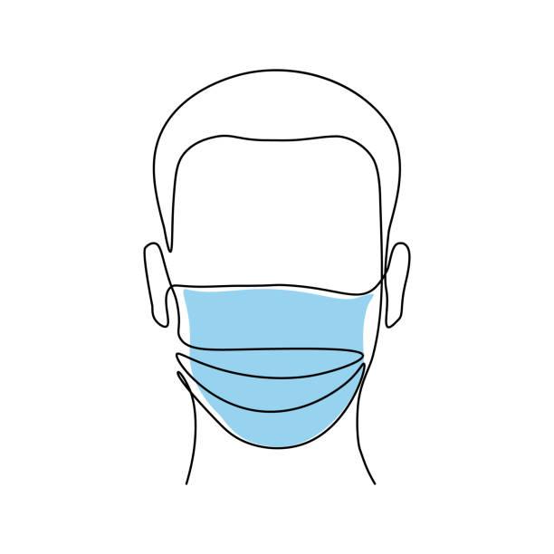 bildbanksillustrationer, clip art samt tecknat material och ikoner med man i medicinsk mask - face mask