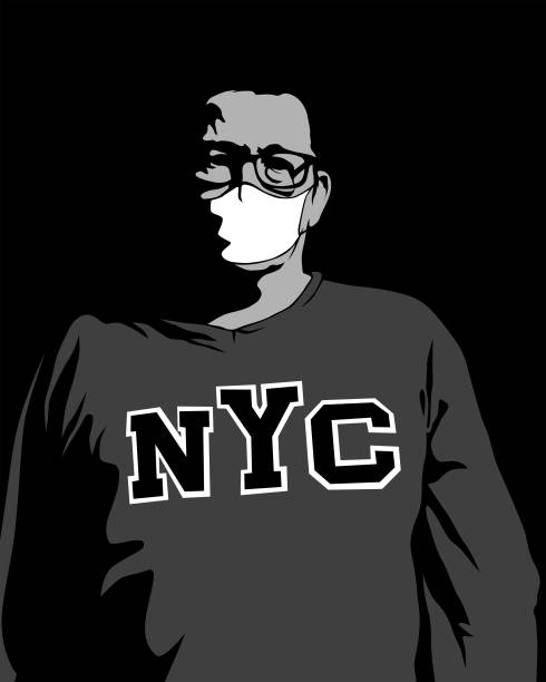 医療マスクの男 - corona newyork点のイラスト素材/クリップアート素材/マンガ素材/アイコン素材