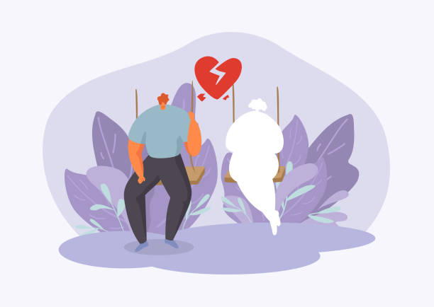 Man in melancholy with broken heart in two halves thinks and misses vector illustration. Valentine day vector art illustration