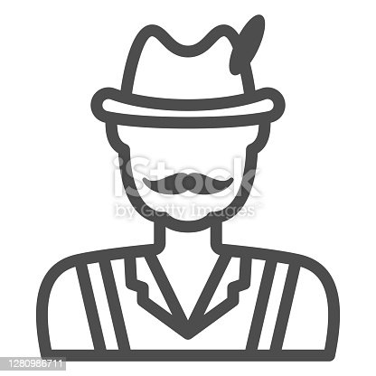 Man in national costume line icon, Oktoberfest concept, German festival character sign on white background, hunter icon in outline style for mobile concept and web design. Vector graphics