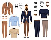Man in office clothes, stylish uniform design. Set of Glasses, Hair Styles and Clothing. Flat Vector Illustration.