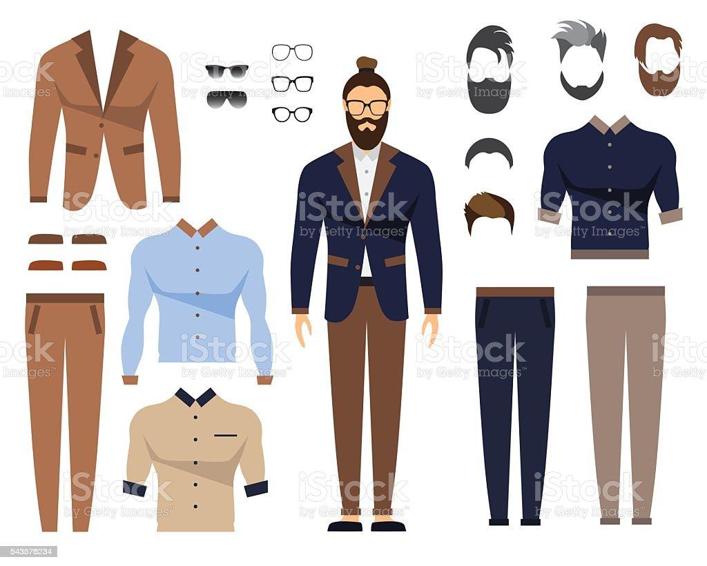 Man in office clothes, stylish uniform design. Set of Glasses - ilustração de arte em vetor