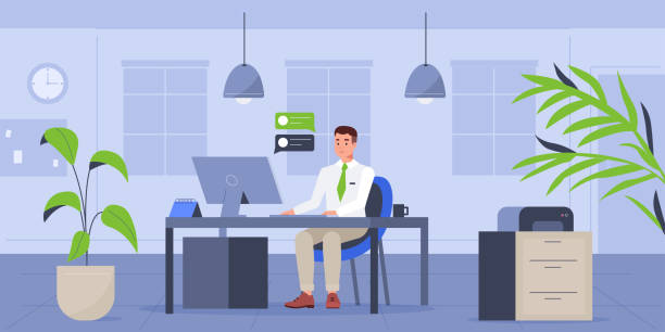 illustrations, cliparts, dessins animés et icônes de homme dans le bureau - office