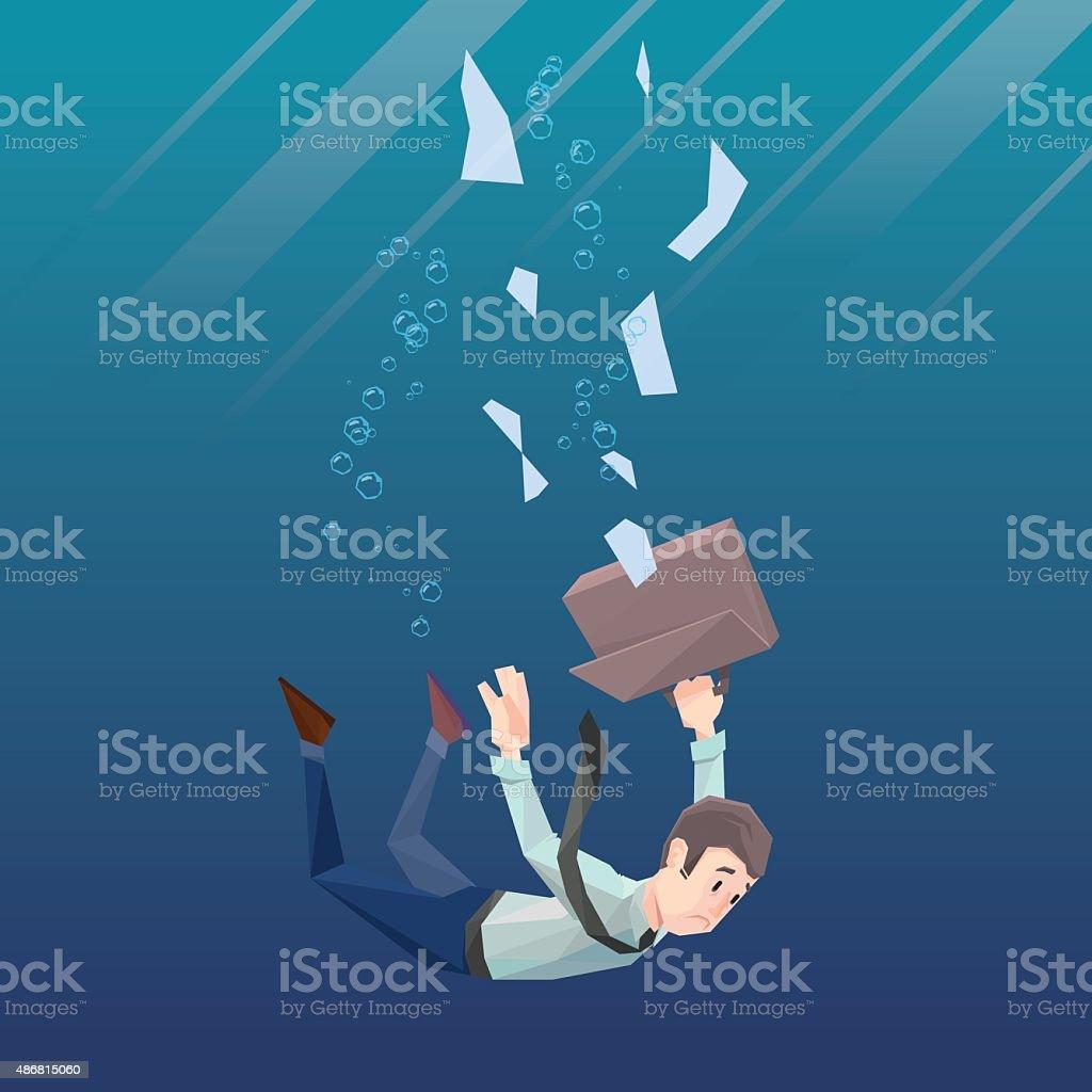 Man in office wear goes down under water vector art illustration