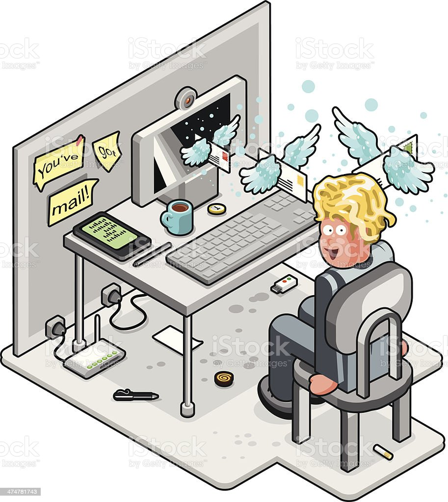 Man in office while receiving flying emails out of computer vector art illustration