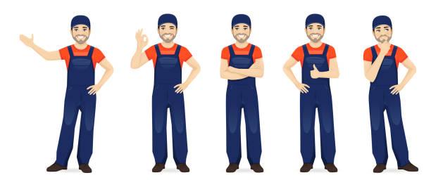 illustrazioni stock, clip art, cartoni animati e icone di tendenza di man in overalls - mechanic
