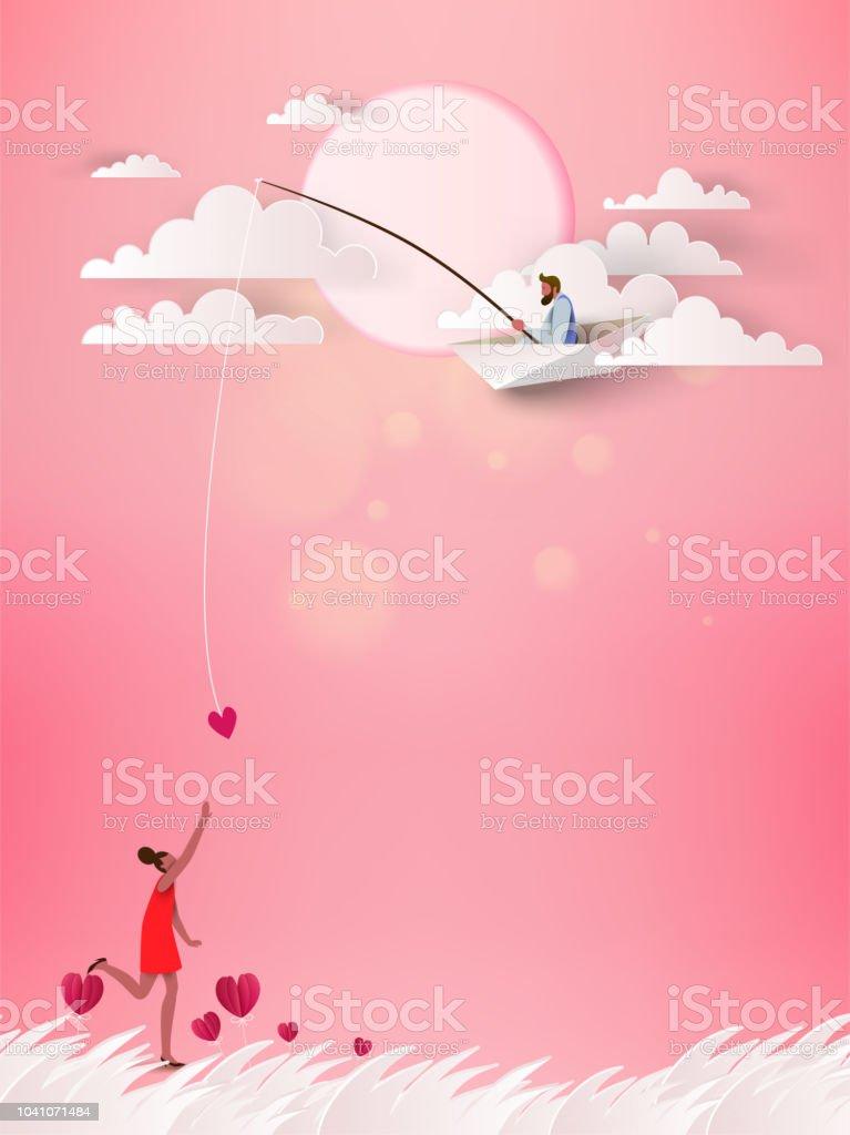 Ein Mann In Papier Boot Phishing Fur Liebe Liebekonzept Happy