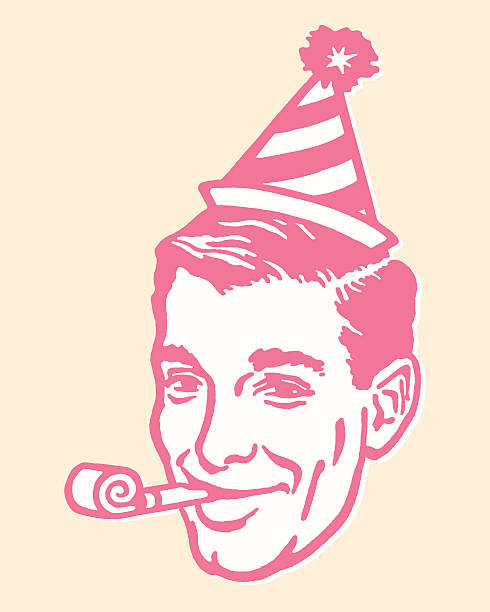 man in party hat with party favor - bachelor party stock illustrations, clip art, cartoons, & icons