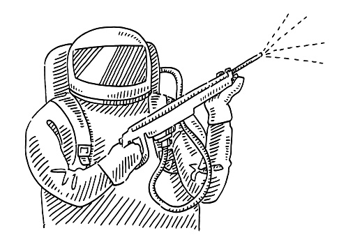 Man In Protection Suit Disinfection Drawing